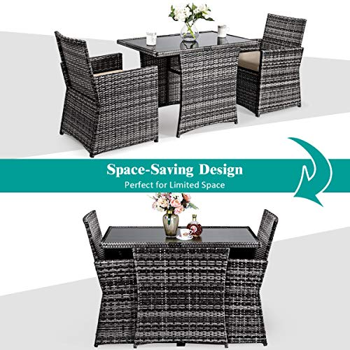 Tangkula 3 Piece Outdoor Dining Set Space Saving Rattan Bistro Set With Glass Top Coffee Table 2 Cushioned Chairs Patio Conversation Furniture Set For Garden Lawn Yard Porch Beige 0 2
