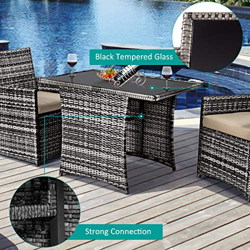 Tangkula 3 Piece Outdoor Dining Set Space Saving Rattan Bistro Set With Glass Top Coffee Table 2 Cushioned Chairs Patio Conversation Furniture Set For Garden Lawn Yard Porch Beige 0 5