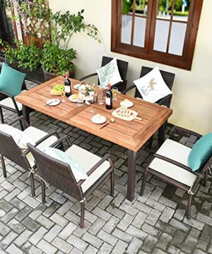 Tangkula 7 Pieces Outdoor Dining Set Acacia Wood Patio Dining Table W 6 Cushioned Rattan Armrest Chairs Modern Furniture Table Set W 216 Umbrella Hole For Backyard Garden Poolside 0 0 300x360