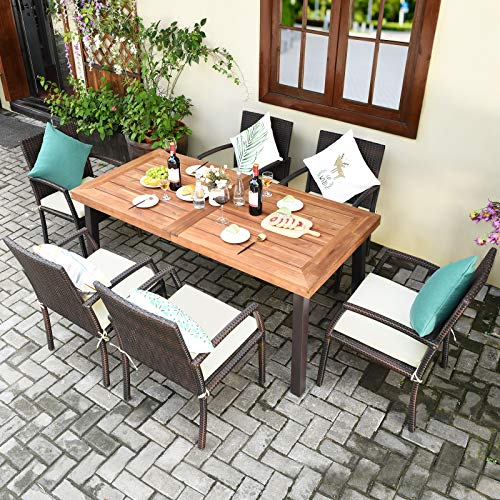 Tangkula 7 Pieces Outdoor Dining Set Acacia Wood Patio Dining Table W 6 Cushioned Rattan Armrest Chairs Modern Furniture Table Set W 216 Umbrella Hole For Backyard Garden Poolside 0 0