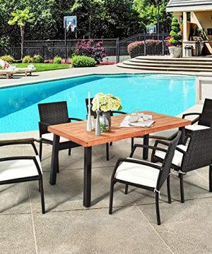 Tangkula 7 Pieces Outdoor Dining Set Acacia Wood Patio Dining Table W 6 Cushioned Rattan Armrest Chairs Modern Furniture Table Set W 216 Umbrella Hole For Backyard Garden Poolside 0 1 300x360