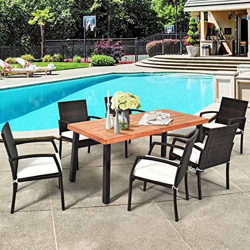 Tangkula 7 Pieces Outdoor Dining Set Acacia Wood Patio Dining Table W 6 Cushioned Rattan Armrest Chairs Modern Furniture Table Set W 216 Umbrella Hole For Backyard Garden Poolside 0 1