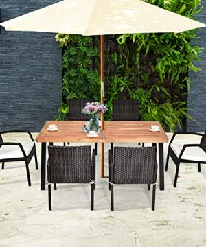 Tangkula 7 Pieces Outdoor Dining Set Acacia Wood Patio Dining Table W 6 Cushioned Rattan Armrest Chairs Modern Furniture Table Set W 216 Umbrella Hole For Backyard Garden Poolside 0 2 300x360