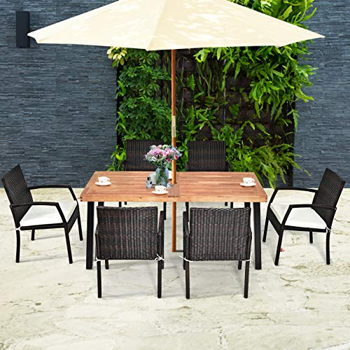 Tangkula 7 Pieces Outdoor Dining Set Acacia Wood Patio Dining Table W 6 Cushioned Rattan Armrest Chairs Modern Furniture Table Set W 216 Umbrella Hole For Backyard Garden Poolside 0 2