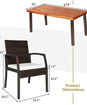 Tangkula 7 Pieces Outdoor Dining Set Acacia Wood Patio Dining Table W 6 Cushioned Rattan Armrest Chairs Modern Furniture Table Set W 216 Umbrella Hole For Backyard Garden Poolside 0 3 300x360