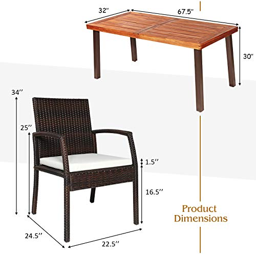 Tangkula 7 Pieces Outdoor Dining Set Acacia Wood Patio Dining Table W 6 Cushioned Rattan Armrest Chairs Modern Furniture Table Set W 216 Umbrella Hole For Backyard Garden Poolside 0 3