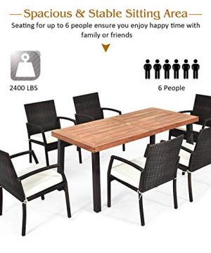 Tangkula 7 Pieces Outdoor Dining Set Acacia Wood Patio Dining Table W 6 Cushioned Rattan Armrest Chairs Modern Furniture Table Set W 216 Umbrella Hole For Backyard Garden Poolside 0 4 300x360