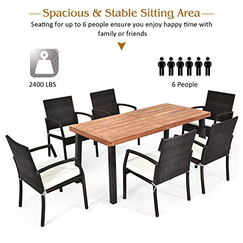 Tangkula 7 Pieces Outdoor Dining Set Acacia Wood Patio Dining Table W 6 Cushioned Rattan Armrest Chairs Modern Furniture Table Set W 216 Umbrella Hole For Backyard Garden Poolside 0 4