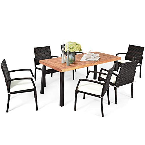 Tangkula 7 Pieces Outdoor Dining Set Acacia Wood Patio Dining Table W 6 Cushioned Rattan Armrest Chairs Modern Furniture Table Set W 216 Umbrella Hole For Backyard Garden Poolside 0