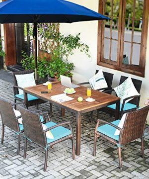 Tangkula 7 Pieces Patio Dining Set Acacia Wood Wicker Dining Furniture Set With Steel Frame Umbrella Hole Outdoor Dining Table Chair Set With Removable Cushions For Backyard Garden Turquoise 0 0 300x360