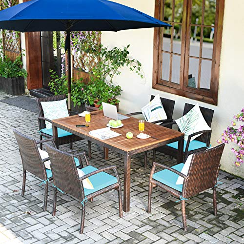 Tangkula 7 Pieces Patio Dining Set Acacia Wood Wicker Dining Furniture Set With Steel Frame Umbrella Hole Outdoor Dining Table Chair Set With Removable Cushions For Backyard Garden Turquoise 0 0