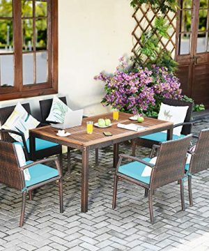 Tangkula 7 Pieces Patio Dining Set Acacia Wood Wicker Dining Furniture Set With Steel Frame Umbrella Hole Outdoor Dining Table Chair Set With Removable Cushions For Backyard Garden Turquoise 0 1 300x360