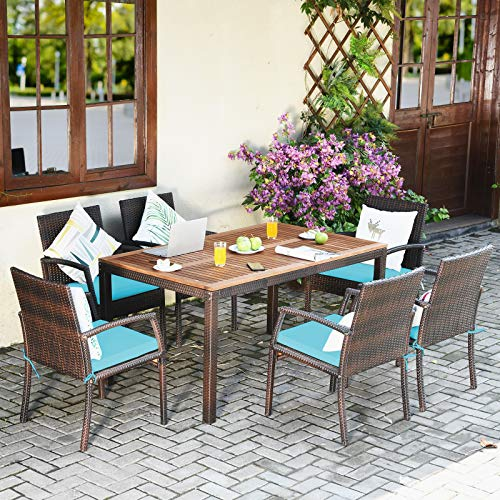 Tangkula 7 Pieces Patio Dining Set Acacia Wood Wicker Dining Furniture Set With Steel Frame Umbrella Hole Outdoor Dining Table Chair Set With Removable Cushions For Backyard Garden Turquoise 0 1