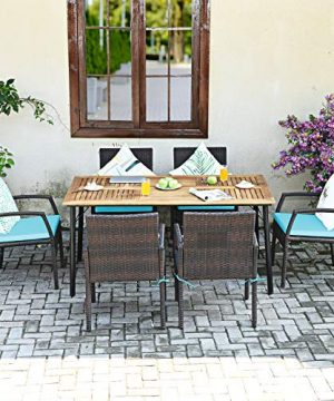 Tangkula 7 Pieces Patio Dining Set Acacia Wood Wicker Dining Furniture Set With Steel Frame Umbrella Hole Outdoor Dining Table Chair Set With Removable Cushions For Backyard Garden Turquoise 0 2 300x360