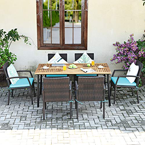 Tangkula 7 Pieces Patio Dining Set Acacia Wood Wicker Dining Furniture Set With Steel Frame Umbrella Hole Outdoor Dining Table Chair Set With Removable Cushions For Backyard Garden Turquoise 0 2
