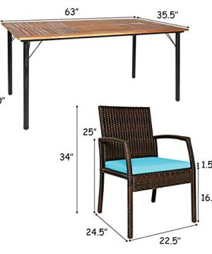 Tangkula 7 Pieces Patio Dining Set Acacia Wood Wicker Dining Furniture Set With Steel Frame Umbrella Hole Outdoor Dining Table Chair Set With Removable Cushions For Backyard Garden Turquoise 0 3 300x360