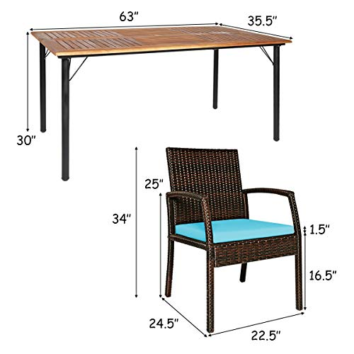 Tangkula 7 Pieces Patio Dining Set Acacia Wood Wicker Dining Furniture Set With Steel Frame Umbrella Hole Outdoor Dining Table Chair Set With Removable Cushions For Backyard Garden Turquoise 0 3