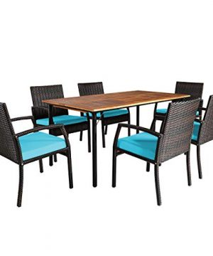 Tangkula 7 Pieces Patio Dining Set Acacia Wood Wicker Dining Furniture Set With Steel Frame Umbrella Hole Outdoor Dining Table Chair Set With Removable Cushions For Backyard Garden Turquoise 0 300x360
