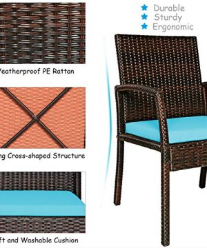 Tangkula 7 Pieces Patio Dining Set Acacia Wood Wicker Dining Furniture Set With Steel Frame Umbrella Hole Outdoor Dining Table Chair Set With Removable Cushions For Backyard Garden Turquoise 0 4 300x360