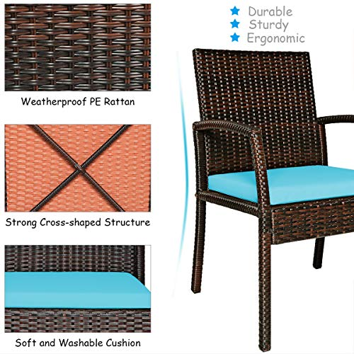 Tangkula 7 Pieces Patio Dining Set Acacia Wood Wicker Dining Furniture Set With Steel Frame Umbrella Hole Outdoor Dining Table Chair Set With Removable Cushions For Backyard Garden Turquoise 0 4
