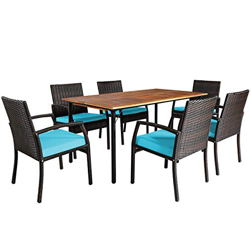 Tangkula 7 Pieces Patio Dining Set Acacia Wood Wicker Dining Furniture Set With Steel Frame Umbrella Hole Outdoor Dining Table Chair Set With Removable Cushions For Backyard Garden Turquoise 0