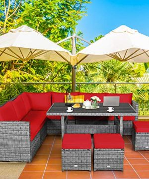 Tangkula 7 Pieces Patio Furniture Set Outdoor Sectional Rattan Sofa Set With Cushions All Weather Wicker Conversation Couch Set WDining Table Ottomans For Backyard Garden Poolside Red 0 0 300x360