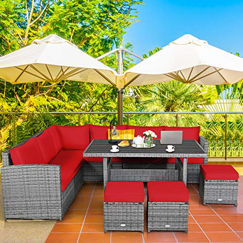 Tangkula 7 Pieces Patio Furniture Set Outdoor Sectional Rattan Sofa Set With Cushions All Weather Wicker Conversation Couch Set WDining Table Ottomans For Backyard Garden Poolside Red 0 0