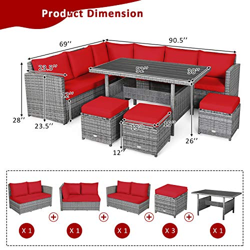 Tangkula 7 Pieces Patio Furniture Set Outdoor Sectional Rattan Sofa Set With Cushions All Weather Wicker Conversation Couch Set WDining Table Ottomans For Backyard Garden Poolside Red 0 2