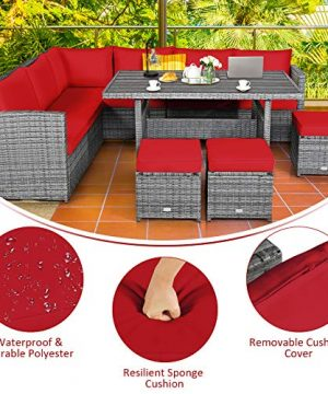 Tangkula 7 Pieces Patio Furniture Set Outdoor Sectional Rattan Sofa Set With Cushions All Weather Wicker Conversation Couch Set WDining Table Ottomans For Backyard Garden Poolside Red 0 3 300x360