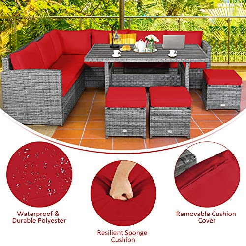 Tangkula 7 Pieces Patio Furniture Set Outdoor Sectional Rattan Sofa Set With Cushions All Weather Wicker Conversation Couch Set WDining Table Ottomans For Backyard Garden Poolside Red 0 3