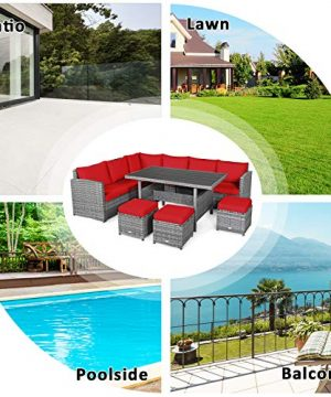 Tangkula 7 Pieces Patio Furniture Set Outdoor Sectional Rattan Sofa Set With Cushions All Weather Wicker Conversation Couch Set WDining Table Ottomans For Backyard Garden Poolside Red 0 5 300x360