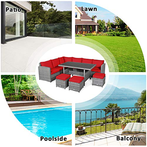 Tangkula 7 Pieces Patio Furniture Set Outdoor Sectional Rattan Sofa Set With Cushions All Weather Wicker Conversation Couch Set WDining Table Ottomans For Backyard Garden Poolside Red 0 5