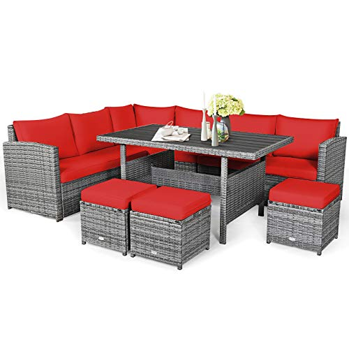 Tangkula 7 Pieces Patio Furniture Set Outdoor Sectional Rattan Sofa Set With Cushions All Weather Wicker Conversation Couch Set WDining Table Ottomans For Backyard Garden Poolside Red 0