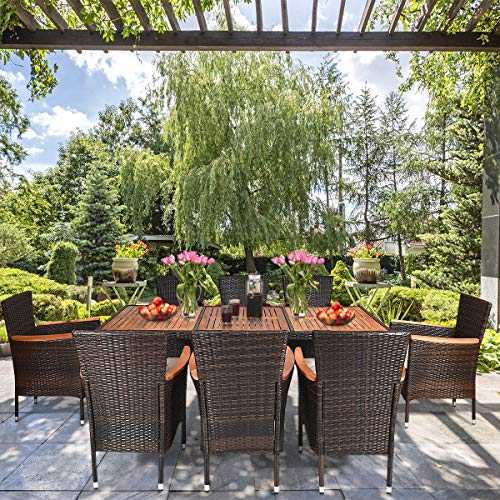 Tangkula 9 Piece Outdoor Dining Set Garden Patio Wicker Set WCushions Patio Wicker Furniture Set With Acacia Wood Table And Stackable Armrest Chairs 0 0