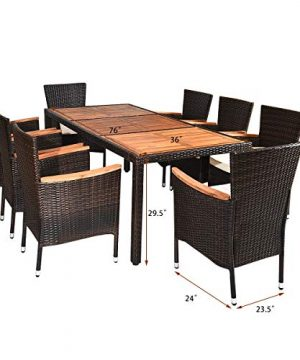 Tangkula 9 Piece Outdoor Dining Set Garden Patio Wicker Set WCushions Patio Wicker Furniture Set With Acacia Wood Table And Stackable Armrest Chairs 0 1 300x360