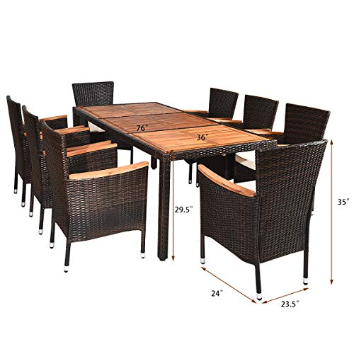 Tangkula 9 Piece Outdoor Dining Set Garden Patio Wicker Set WCushions Patio Wicker Furniture Set With Acacia Wood Table And Stackable Armrest Chairs 0 1
