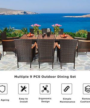 Tangkula 9 Piece Outdoor Dining Set Garden Patio Wicker Set WCushions Patio Wicker Furniture Set With Acacia Wood Table And Stackable Armrest Chairs 0 2 300x360