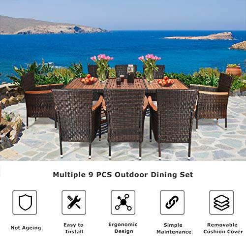 Tangkula 9 Piece Outdoor Dining Set Garden Patio Wicker Set WCushions Patio Wicker Furniture Set With Acacia Wood Table And Stackable Armrest Chairs 0 2
