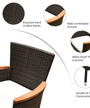 Tangkula 9 Piece Outdoor Dining Set Garden Patio Wicker Set WCushions Patio Wicker Furniture Set With Acacia Wood Table And Stackable Armrest Chairs 0 3 300x360