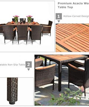 Tangkula 9 Piece Outdoor Dining Set Garden Patio Wicker Set WCushions Patio Wicker Furniture Set With Acacia Wood Table And Stackable Armrest Chairs 0 4 300x360