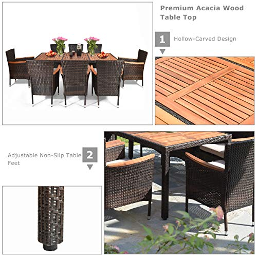 Tangkula 9 Piece Outdoor Dining Set Garden Patio Wicker Set WCushions Patio Wicker Furniture Set With Acacia Wood Table And Stackable Armrest Chairs 0 4