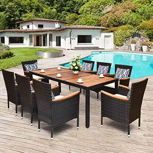 Tangkula 9 Piece Outdoor Dining Set Garden Patio Wicker Set WCushions Patio Wicker Furniture Set With Acacia Wood Table And Stackable Armrest Chairs 0