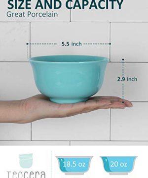 Teocera Porcelain Cereal Bowl Soup Bowls Set Deep Bowls 20 Ounce For Cereal Soup Oatmeal Microwave Safe Set Of 6 Turquoise 0 0 300x360