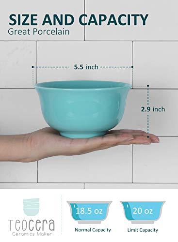 Teocera Porcelain Cereal Bowl Soup Bowls Set Deep Bowls 20 Ounce For Cereal Soup Oatmeal Microwave Safe Set Of 6 Turquoise 0 0