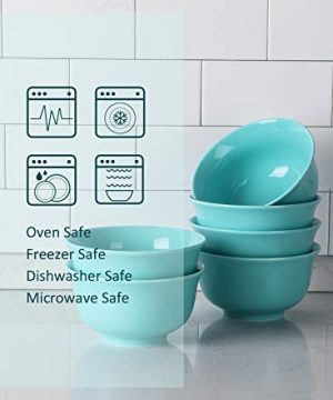 Teocera Porcelain Cereal Bowl Soup Bowls Set Deep Bowls 20 Ounce For Cereal Soup Oatmeal Microwave Safe Set Of 6 Turquoise 0 1 300x360