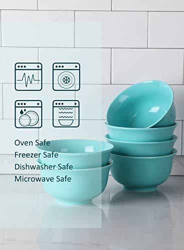 Teocera Porcelain Cereal Bowl Soup Bowls Set Deep Bowls 20 Ounce For Cereal Soup Oatmeal Microwave Safe Set Of 6 Turquoise 0 1