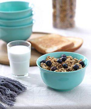 Teocera Porcelain Cereal Bowl Soup Bowls Set Deep Bowls 20 Ounce For Cereal Soup Oatmeal Microwave Safe Set Of 6 Turquoise 0 3 300x360
