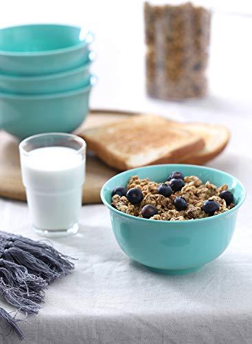Teocera Porcelain Cereal Bowl Soup Bowls Set Deep Bowls 20 Ounce For Cereal Soup Oatmeal Microwave Safe Set Of 6 Turquoise 0 3