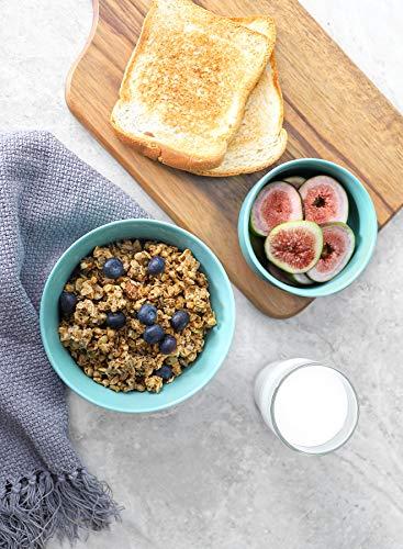 Teocera Porcelain Cereal Bowl Soup Bowls Set Deep Bowls 20 Ounce For Cereal Soup Oatmeal Microwave Safe Set Of 6 Turquoise 0 4