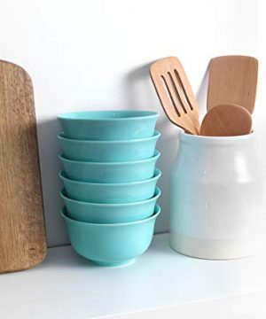 Teocera Porcelain Cereal Bowl Soup Bowls Set Deep Bowls 20 Ounce For Cereal Soup Oatmeal Microwave Safe Set Of 6 Turquoise 0 5 300x360